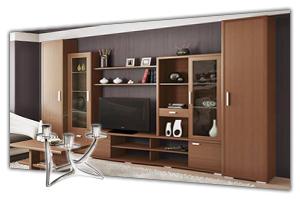 Гостиные модульные в интернет-магазине в СПб. У нас можно недорого купить модульную мебель для гостиной. Модули для гостиных, каталог - цены, фото, прайс лист. Продажа и заказ в Санкт Петербурге. Стоимость доставки, сборка. Мебельная Симфония.
